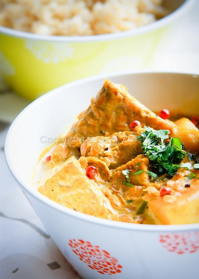 coconut curry tempeh. Tempeh is bean curd. It originated from java. i'm malaysian but mum is javanese :)