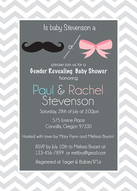 Gender Reveal Baby Shower Invitation Chevron