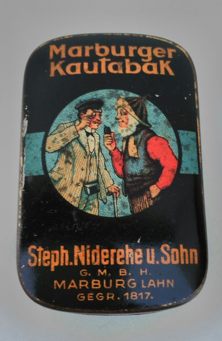 "Old German ""Marburger Kautabak Tin von Steph. Niderehe & Sohn aus Marburg, 30ties, is in my Collection and not for Sale"