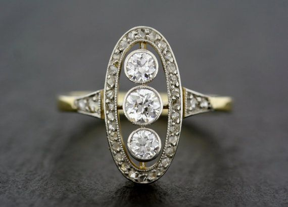 A beautiful Art Deco diamond engagement ring. This style of Art Deco ring is of a pattern weve seen before, but this is easily the best example