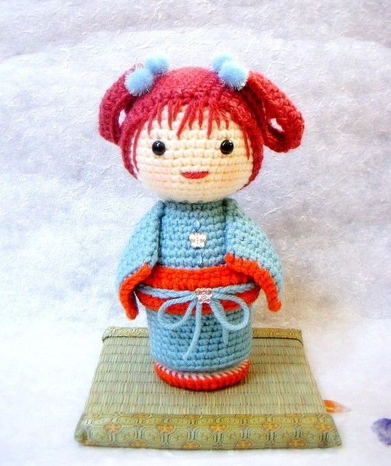 Amigurumi Geisha Tutorial : ChoCho - Crochet Amigurumi Kokeshi doll pattern / PDF ...