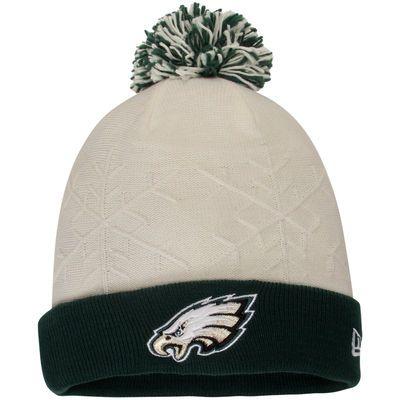 Women's Philadelphia Eagles New Era White/Midnight Green Snow Crown Cuffed Knit Hat