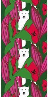 Nanuk är ett nytt härligt tyg från finska Marimekko med mönster av isbjörnar bland blommor och blad av Teresa Moorhouse.