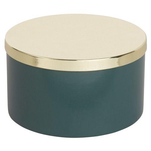 AMABELLA - Runde Dose aus Metall in Grün und Gold