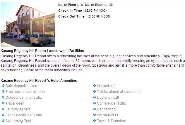 Kasang Regency Hill Resort Lansdowne hotels facilities
