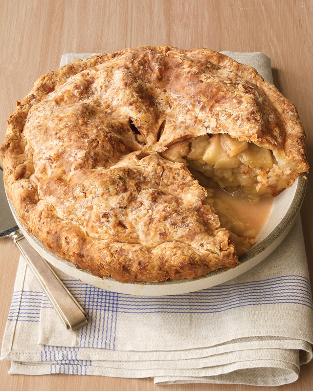 Baking this now!  via #MarthaStewart Cheddar cheese is a popular complement to apples. Cutting steam vents in the top crust allows excess moisture to escape and lets you see the juices bubbling.