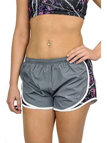 Muddy Girl Camo Gray Athletic Shorts