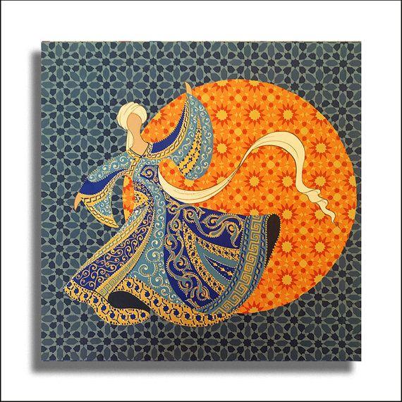 Original Painting Whirling Dervish Sufi Dance Rumi Miniature - AESMPM0034
