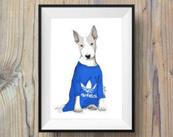 Perro amante regalo Bull Terrier por LouTateIllustration en Etsy