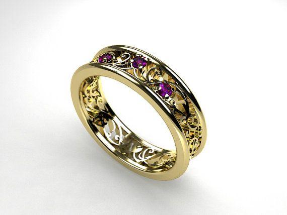 Filigree wedding ring with amethysts by TorkkeliJewellery, $1345.00