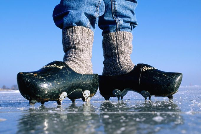 Dutch wooden shoes with ice cleats