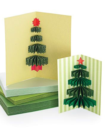 3-D Christmas Tree Card As this Christmas card opens, a 3-D tree made from pleated paper rectangles pops out, like a small gift.