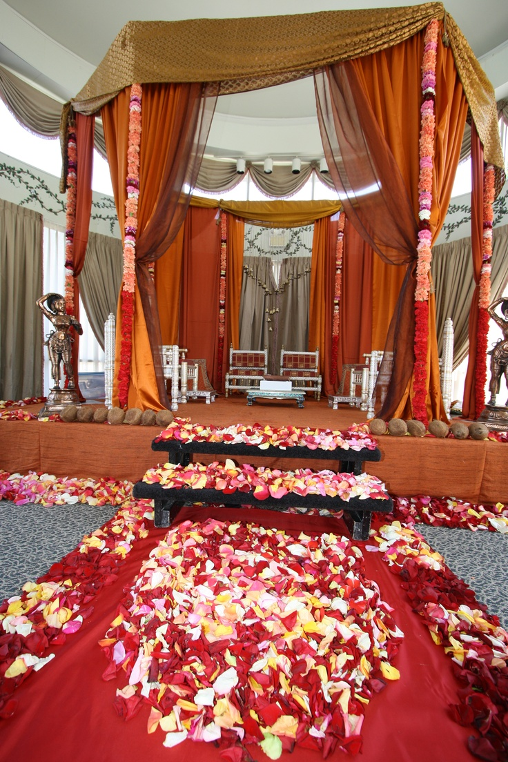Traditional fabric mandap with floral columns  www.laxstates.com  Indian Weddings, South Asian, Mandaps