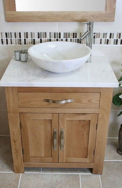Solid Oak Bathroom Vanity Unit Basin Floor Cabinets Marble Bowl Sink Tap & Plug
