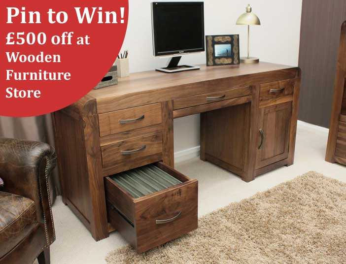 Who fancies winning this impressive Shiro Twin Computer Desk? Yep, thought so. Just enter our great new Pinterest competition for your chance to win up to five hundred pounds off this, or any of our great wooden furniture.