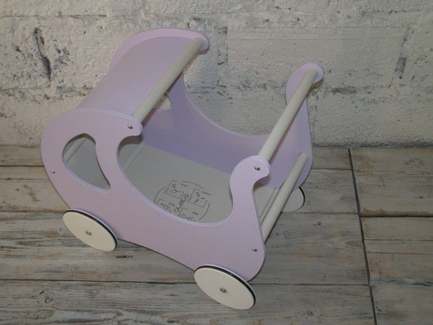 Drewniany wózek dla lalek + materacyk WRZOSOWY - Oloka-Gruppe - Zabawki drewniane