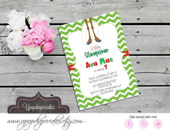 Christmas Party Invitation--Reindeer Feet Invite--Chevron--Birthday Invitation--Sleepover Invite--Printable Invite