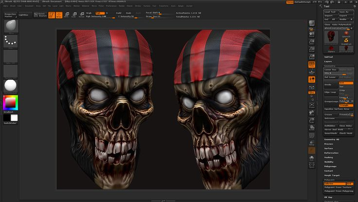 Pirate head with texture zbrush