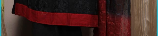 Black Cotton Salwar Kameez Online Shopping: KJN510