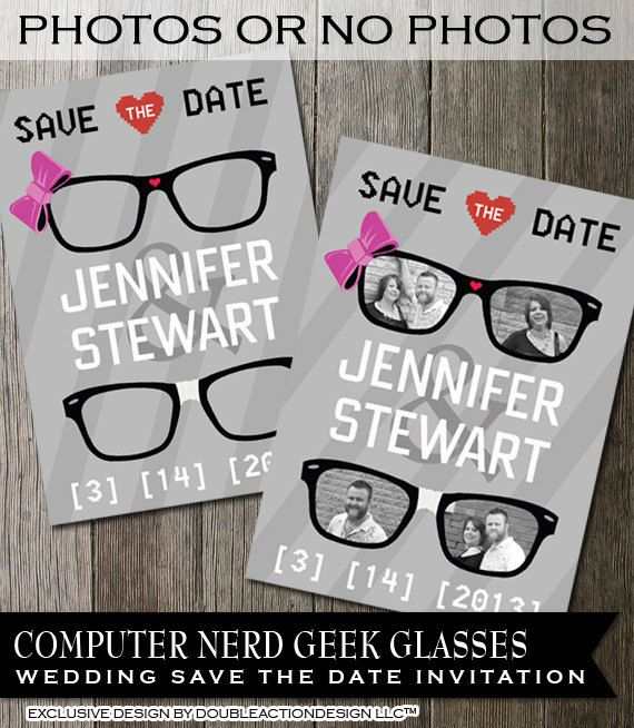 Geek Wedding Save the Date Invitation.  Customizable with your engagement photos! So cute.  Are YOU a computer geek or nerd? Show us your style!  $14.00 #wedding #geek #savethedate