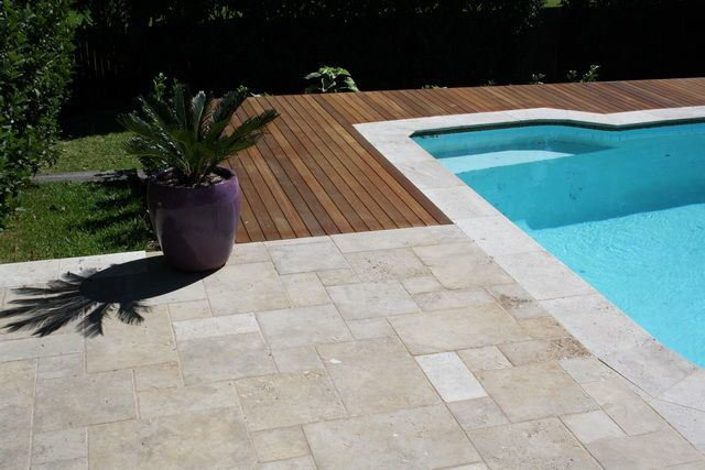 travertine tiles around the pool timbo decking - Google Search