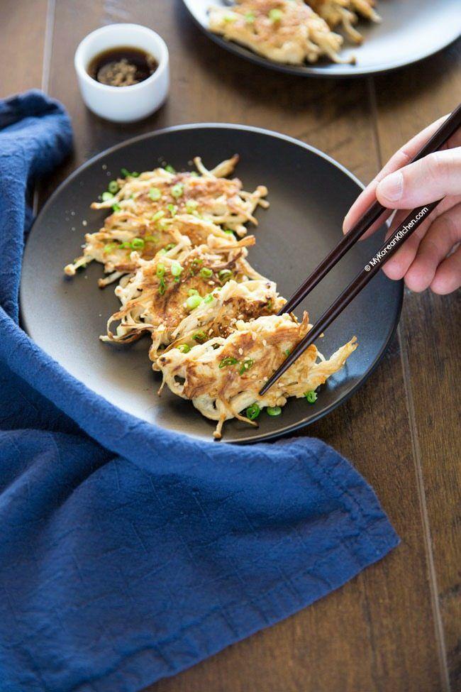 Koreanische Enoki Pilzpfannkuchen Enoki Enokipilzpfannkuchen Koreanische Pilzpfannkuch Asian Recipes Recipes Diy Food Recipes