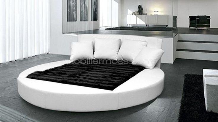 Dolce lit rond en cuir - découvrez un lit rond design en chocolat, noir ou blanc - Mobilier Moss