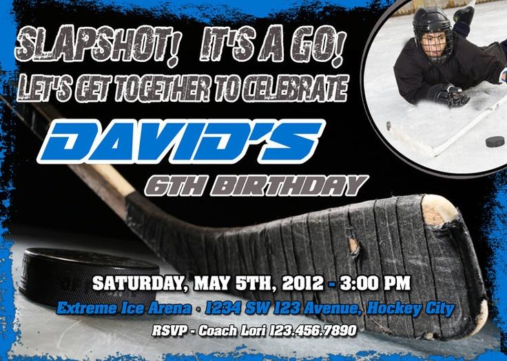 Best Ice Hockey Themed Birthday Images On Pinterest Hockey - Free birthday invitation templates hockey