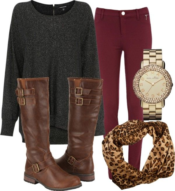 casual comfort oversized grey long sweater wine red colored skinny jeans chetah infinity scarf gold faced diamond watch and tall riding boots with buckles