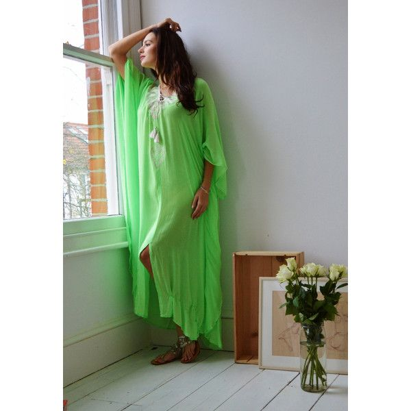 Summer 10 Off Light Lime Green Embroidery Beach Resort Caftan Kaftan... ($218) ❤ liked on Polyvore featuring swimwear, cover-ups, dresses, silver, women's clothing, caftan swim cover up, swim cover ups, long beach cover up, beach kaftan cover ups and boho swim cover up