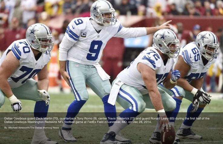 Dallas Cowboys guard, Zack Martin (70), quarterback Tony Romo (9), center Travis Frederick (72), and guard Ronald Leary (65), vs the Redskins on Dec. 28, 2104. (via The Dallas Morning News) #Dallas #Cowboys #DallasCowboys #NFL #NFC #FightToTheFinish #AmericasTeam