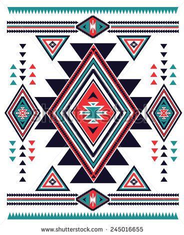 Navajo Aztec big pattern vector illustration  - stock vector