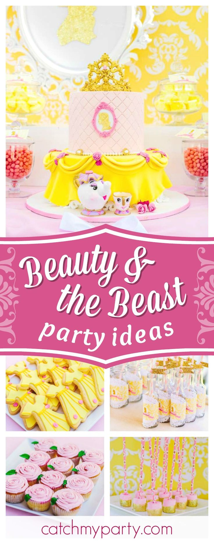 Don't miss this pretty Princess Belle Beauty and the Beast birthday party. The cake is incredible!! See more party ideas and share yours at CatchMyParty.com