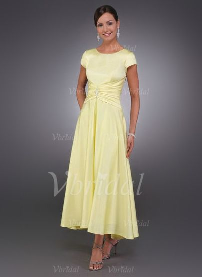 A-Line/Princess Scoop Neck Asymmetrical Ruffle Beading Charmeuse Zipper Up Sleeves Short Sleeves No 2015 Daffodil Spring Summer Fall General Mother of the Bride Dress