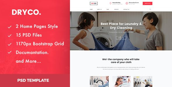 Dryco Laundry Dry Cleaning Services Psd Template Dry Laundry