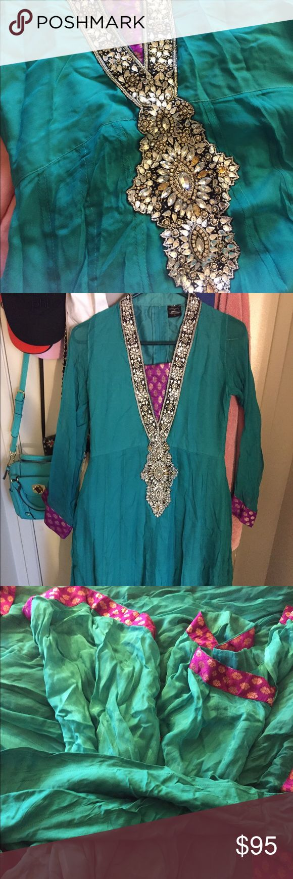 Traditional Anarkali dress full set Selling emerald green/aqua with gold and silve details traditional Pakistani anarkali dress that comes with pajamas and dupatta( scarf). Worn few times, missing few emeralds on the top. maysoon Dresses Wedding