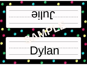 Get your elementary classroom off to the right start with these cute dots-themed name plates! The name plates come in four different colors in an editable PowerPoint, so you can directly type your students names onto them. These name plates come in two styles.