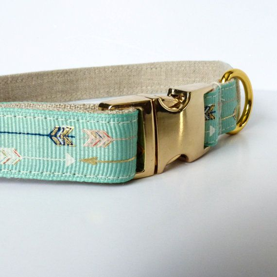 Mint green arrows dog collar, Trendy dog collar, mint dog collar, Arrows, Fancy dog collar, Gold dog collar, Metallic - 5/8 inch (16mm) wide  Metallic