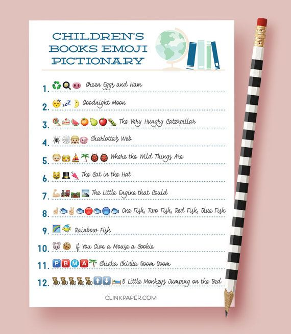 Children's Books Emoji Pictionary- Baby Shower Game- Instant Download- Print at Home: Blue Color