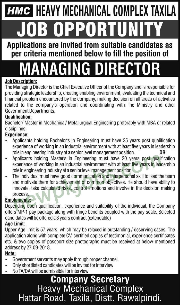 Managing Director Job Description | Jobs In Heavy Mechanical Complex Taxila 2018 Latest For Managing