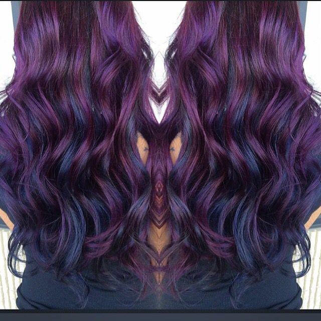 Blueberry hair. Purple hues and blue hues
