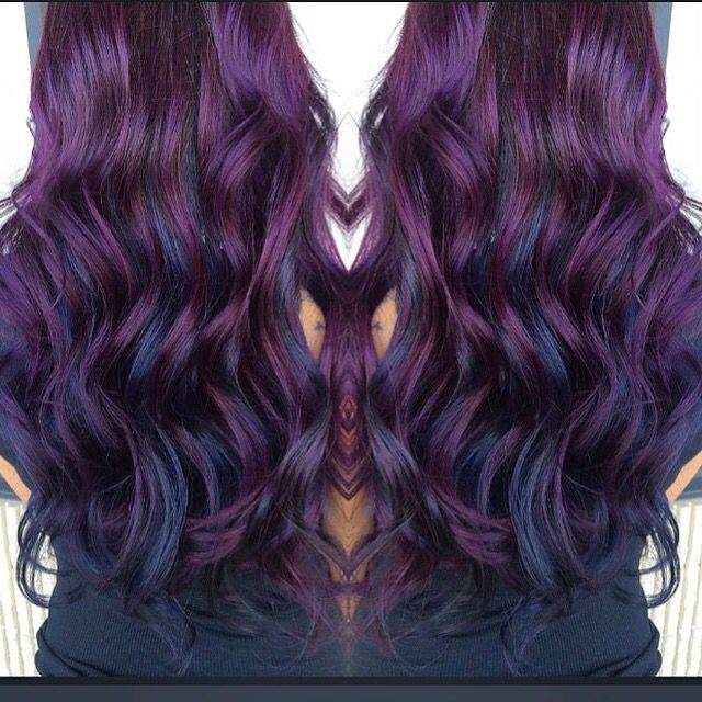 Blueberry hair. Purple hues and blue hues