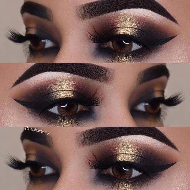Black And Gold Smokey Eye Idea For Brown Eyes Makeup Gold Eye