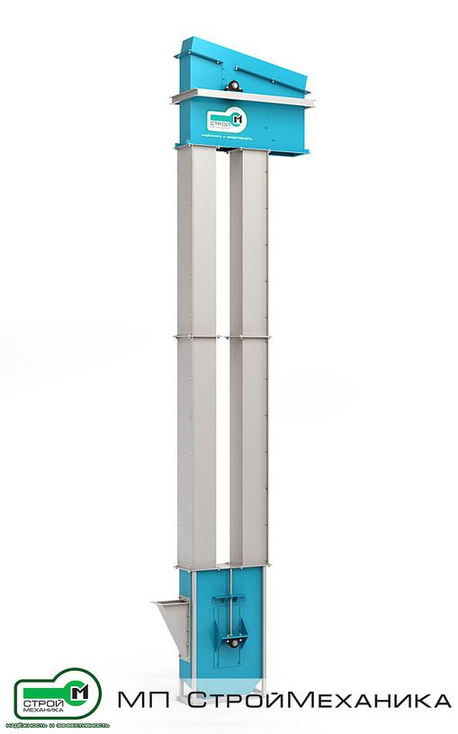Bucket elevators (Noria) EKL 175 production MP #StroyMehanika (TULA PIPELINE PROJECT) is designed for continuous vertical transportation of bulk materials of volume weight up to 3500 kg/m3 inclusively. link - http://www.stroymehanika.ru/noriya175.php