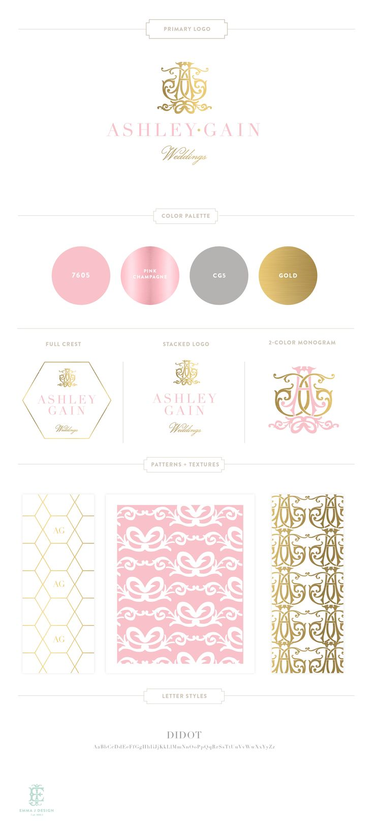 Branding Design for Ashley Gain Weddings     www.EmilyMcCarthy.com   Luxury…