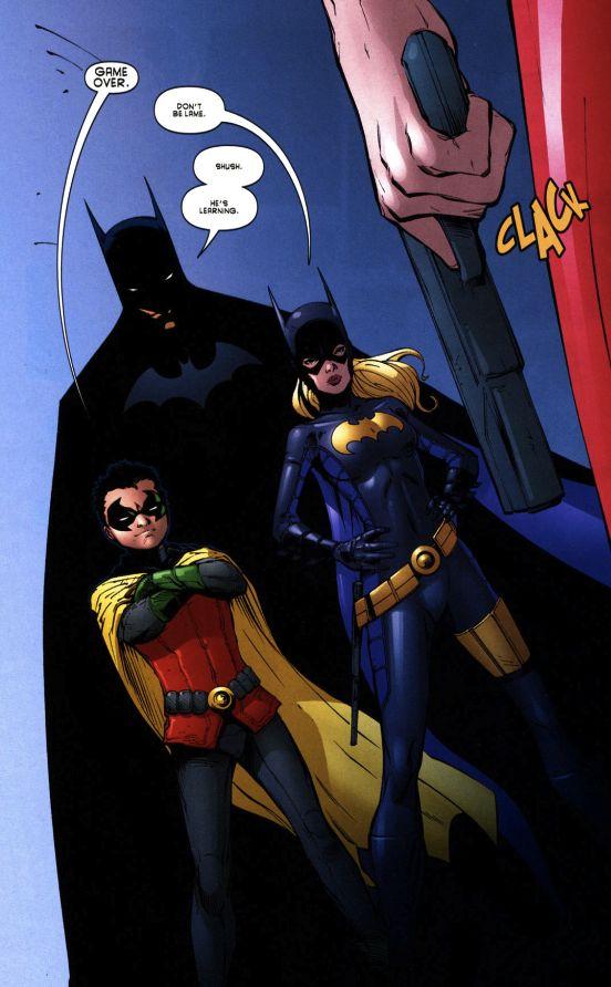 Dick Grayson is such a good dad. (Batgirl v.2 #7) | Batman (Dick Grayson), Robin (Damian Wayne), Batgirl (Stephanie Brown)