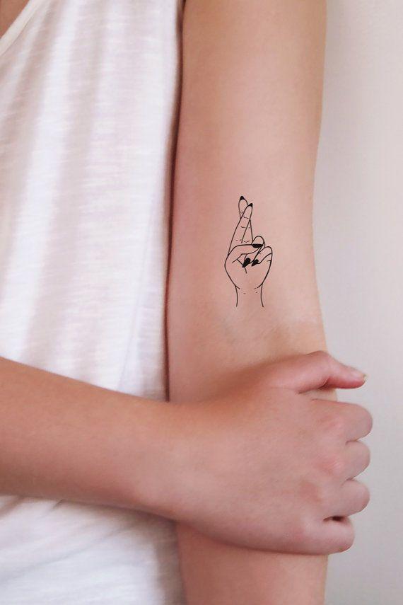 Ship From Ny - Temporary Tattoo - Set Of 2 Fingers Crossed Temporary Tattoo