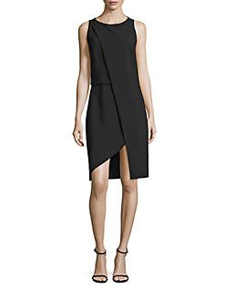 Halston Heritage - Asymmetrical Overlay Dress