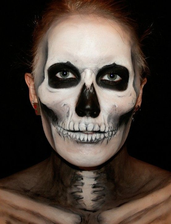 skeleton face painting - Skull Face Painting Ideas For Halloween