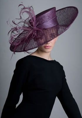 Dark purple, wide-brimmed hat with feather flourishes.